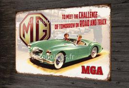Plaque métal déco vintage MGA , British motor corporation.