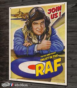 """Plaque métal déco vintage Pilote chasseur Spitfire  """"enlist in the RAF"""""""