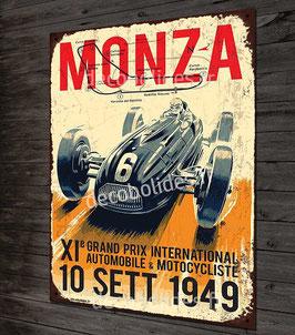 Plaque métal déco 20x30 cm grand prix d'Italie à Monza en 1949 avec Ferrari, Maserati, Talbot-Lago.