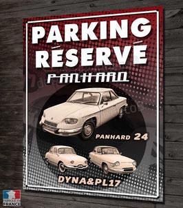 """Plaque métal déco,""""Parking réservé Panhard 24 & Dyna & PL17"""", par Déco bolides."""