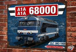 Plaque métal déco Locomotive Diesel A1A-A1A 68000  Train SNCF
