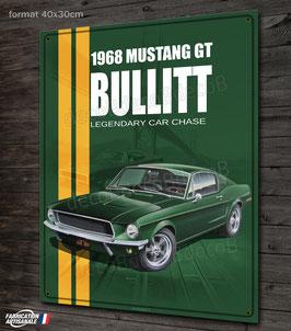 Plaque métal déco 1968 Mustang GT Bullitt.