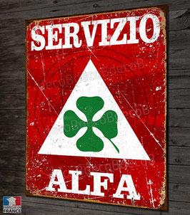 """Plaque métal déco"""" Servizio Alfa Romeo"""" , par Déco bolides."""