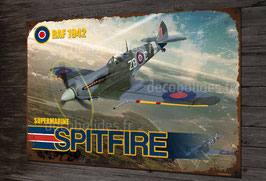 Plaque métal déco supermarine RAF 1942 Spitfire fighter