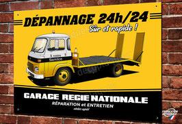 Plaque métal déco Dépanneuse ancien Garage Renault avec camion SAVIEM,Illustration par Christophe Clérici