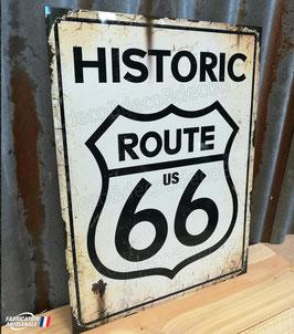 Plaque métal reproduction ancien panneau de signalisation US Route 66.