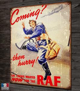 """Plaque métal déco Pilote chasseur Spitfire RAF """"Coming"""""""