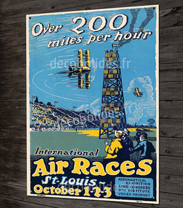 "Plaque métal déco poster vintage aviation de course ""air races"""