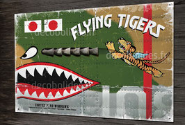 Plaque métal déco chasseur P-40 Warhawk AVG flying tigers, ww2 warbirds.