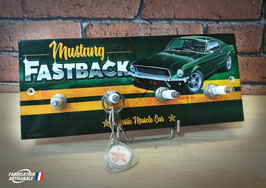Accroche clés mural Mustang Fastback classic muscle car.