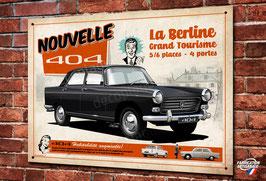 Plaque métal déco Peugeot 404, Berline populaire de collection, illustration de Christophe Clérici, décoration garage Peugeot vintage par Déco Bolides.
