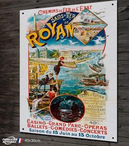 Plaque métal déco, reproduction ancienne affiche publicitaire et touristique sur la ville de Royan.