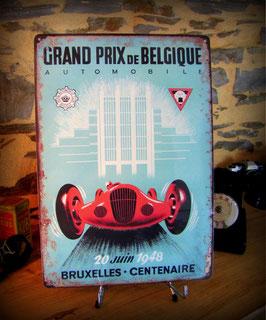 """Plaque métal déco reproduction ancienne affiche"""" Grand prix auto de Belgique"""" par Déco bolides."""