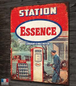 Plaque métal station Essence, inspirée des anciennes plaques émaillées publicitaire Esso, Shell, PB, Texaco...déco garage autos vintage