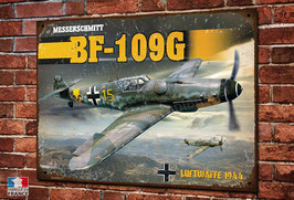 Plaque métal déco chasseur Messerschmitt Bf 109 G Luftwaffe 1944 WW2 Fighter