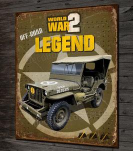 """Plaque métal déco Jeep Willys """" off road legend"""" débarquement Normandie 1944 WW2"""