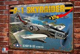 Plaque métal déco Douglas A-1 Skyraider  bombardier US Navy Guerre du Viêt-Nam 1965.