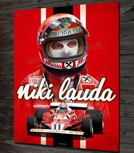 Plaque métal Artwork Niki Lauda pilote et champion du monde de Formule 1 Ferrari, McLaren.
