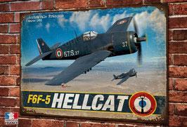 Artwork warbird Hellcat F6F-5 aéronavale Française imprimée sur plaque métal décorative.