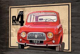 Plaque métal Régie nationale Renault R4 par déco bolides