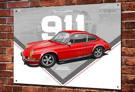 "Artwork Porsche 911 classic ""Rouge"" imprimée sur plaque métal décorative, illustration Christophe Clérici."