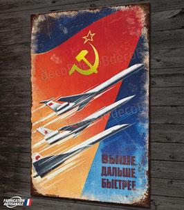 Plaque métal déco reproduction affiche de propagande aviation soviétique années '50