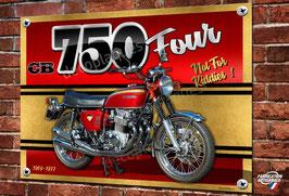 Plaque métal déco Moto Honda cb 750 Four 1969-1977 pour décoration garage.