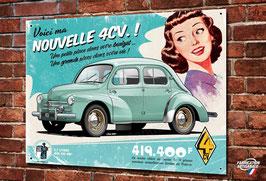 Plaque métal déco artwork  Renault 4cv, illustration de Christophe Clérici.