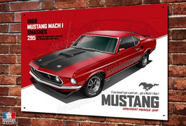 Artwork plaque métal déco Ford Mustang Mach 1, illustration de Christophe Clérici.