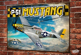 """Plaque métal déco P-51 mustang jaune """"Dove of peace"""" Warbird ww2 chasseur à hélice USAAF"""