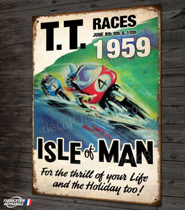 Plaque métal, TT races Tourist trophy, Isle of Man 1959