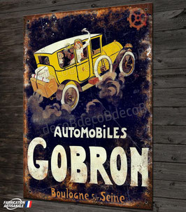 """Plaque métal reproduction publicité """"Automobiles GOBRON """" anciennes autos avant guerre."""