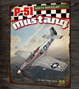 Plaque métal déco P-51 mustang north american fighter 8th air force