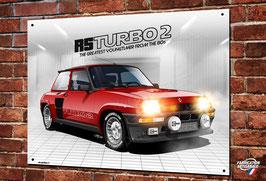 Plaque métal Renault R5 turbo 2, illustration de Christophe Clérici.