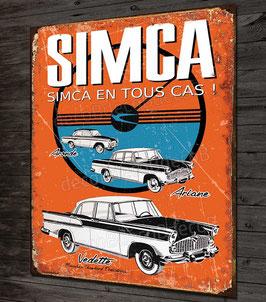 Plaque métal déco SIMCA ariane, aronde, vedette, imitation plaque émaillée ancienne .