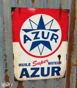 Plaque métal déco reproduction enseigne publicitaire AZUR huile moteur, décoration garage vintage .
