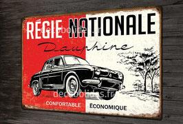 """Plaque métal déco """"Régie Nationale"""" Renault Dauphine, auto populaire vintage."""