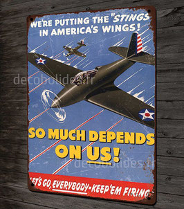 plaque métal déco reproduction affiche vintage propagande US Air Force P-39 Airacobra world war 2 par déco bolides.