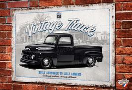 Plaque métal Truck, pick-up Ford F1 années 50, artwork de Christophe Clérici, déco garage vintage, voiture Américaine V8 US.