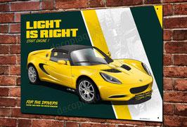 """Artwork Lotus Elise """" Light is Right """" British racing cars imprimée sur plaque métal déco garage vintage & classic, Illustration de Christophe Clérici."""