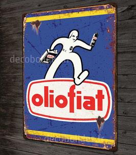 Plaque en Métal déco  ,Reproduction Publicité d'époque Olio fiat, par Déco-bolides