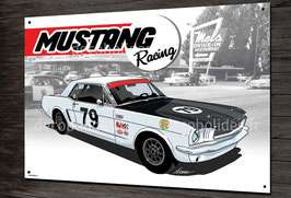 Plaque métal décorative Ford Mustang racing 40x28cm