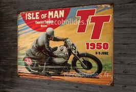 Plaque métal déco TT tourist trophy 1950, moto vintage.
