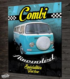Plaque métal déco VW combi T2 aircooled, déco garage Volkswagen vintage.