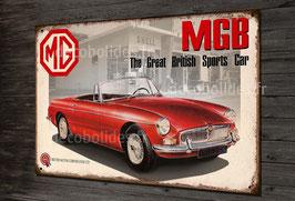 Plaque métal déco garage vintage MGB par déco bolides.