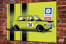 Plaque métal déco Simca 1000 Rallye verte par Ivan Brossard
