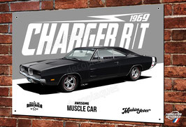 Plaque métal déco garage Artwork Dodge Charger R/T 1969 muscle car