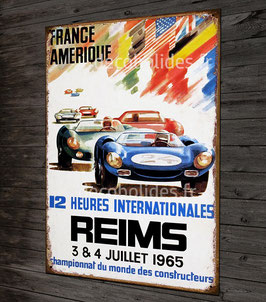 Plaque métal déco affiche course autos 12 H internationales de Reims 1965 par déco Bolides.