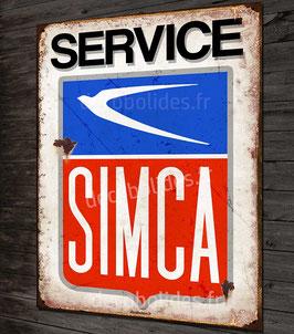 """Plaque métal déco garage """"Service Simca"""" période 70' imitation plaque émaillée vintage."""