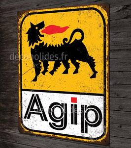 Plaque métal déco AGIP huile pour moteur voitures anciennes italiennes, décoration garage vintage .